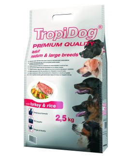 TropiDog Premium Adult M/L Turkey & Rice 2,5 kg