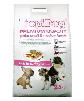 TropiDog Premium Junior S Turkey & Rice 2,5kg